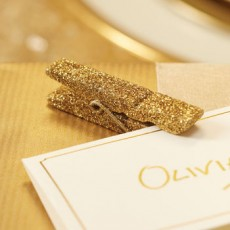 Gold Glitter Wooden Pegs x12